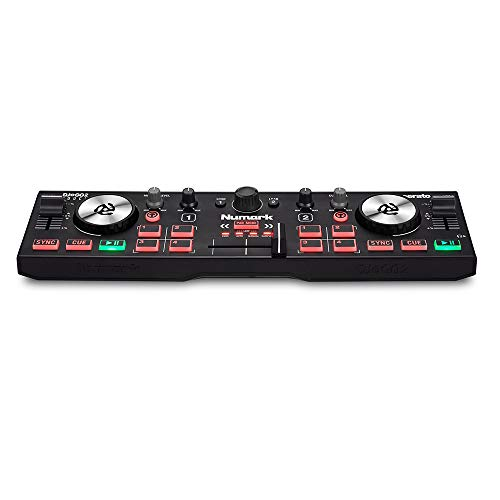 Numark DJ2GO2 Touch Pocket DJ Controller with Touch Jog Wheels + Stereo Cable + Op/Tech Strapeez + TRS to Dual TS Cable