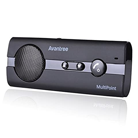 [2 Year Warranty] Avantree MULTIPOINT Bluetooth V4.0 Handsfree Visor Car Kit,Support GPS, Music, In Car Speakerphone for iPhone, Samsung
