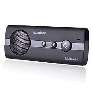 Avantree [Garantía de 2 años] Kit de Altavoces Manos Libres Coche Bluetooth V4.0, GPS y A2DP, Música, Universal, Conectar Dos Teléfonos - Negro 10BP