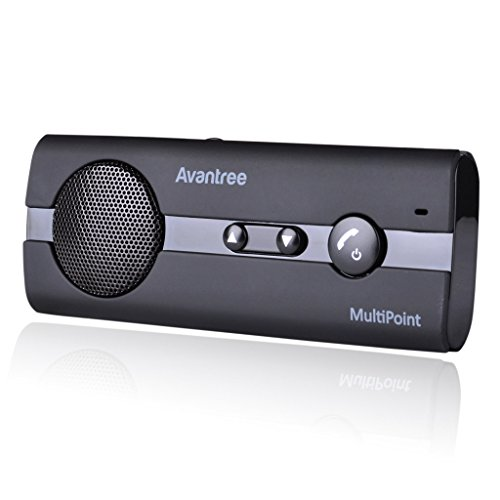 Avantree 10BP MULTIPOINT Hands Free Bluetooth for Cell Phone Car Kit, Loud Speakerphone, Support GPS, Music, Wireless in Car Handsfree Speaker with Visor Clip, Compatible with iPhone, Samsung - Black from Avantree