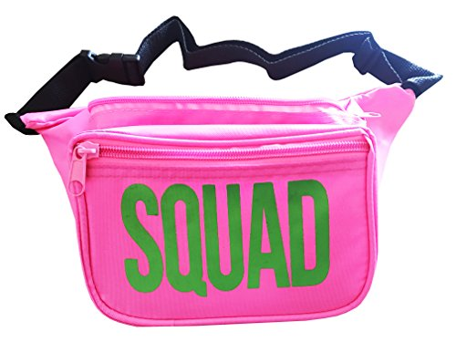 Neon Pink Green (College Fannies | Premium Double Pocket, Neon Dance Party Fanny Pack (Pink & Green (SQUAD)))