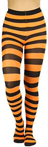 Striped Leggings For Halloween (ToBeInStyle Women's Full Footed Wide Striped Tights - Black And)