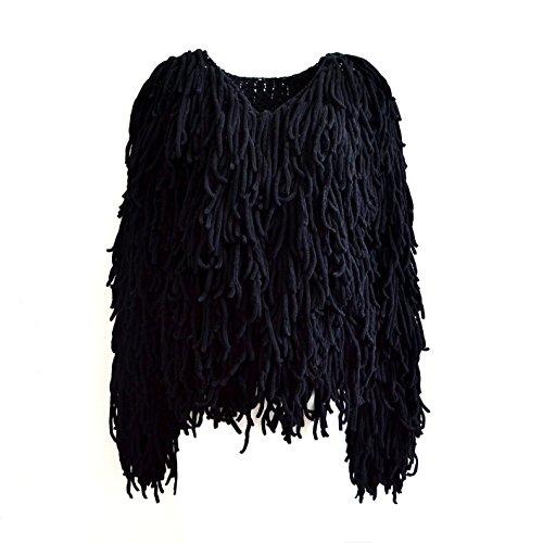 LLQ Abrigo para Mujer Invierno Piel Abrigo Borla Caliente Chaqueta Piel Long Section Ropa Mujer Abrigo Pelo Invierno Borla Ropa(Blanco) Negro