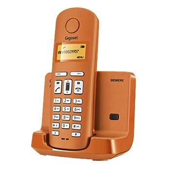 Siemens Gigaset SIAL110N - Teléfono fijo inalámbrico, agenda para 40 contactos, identificador de llamadas, color naranja
