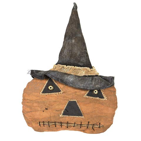 HAPPY DEALS ~ Rustic Primitive Halloween Jack O Lantern Pumpkin - 11.5 X 16.5 Size (Primitive Clearance Decor)
