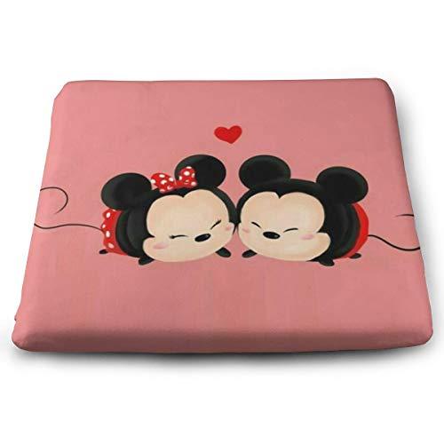 (KXJBB Chair Pads- Non Slip Square Chair Cushion Comfort Memory Foam Cute Mickey Minnie Mouse Thicken Seat Cushion Pillow )