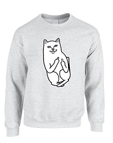 Allntrends Adult Sweatshirt Middle Finger Cat Humor Funny Top (S, Ash) Finger Sweatshirt