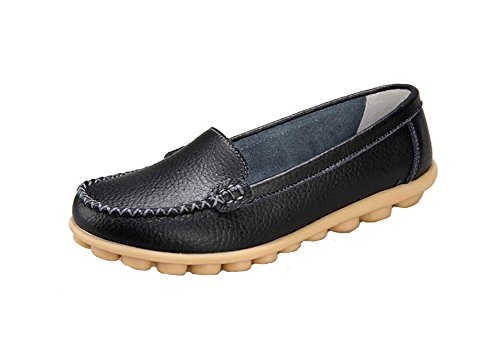 Wicky LS Ladies Work Comfort Leather Moccasins Loafer Flats Peas Shoes Style1 Black