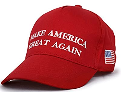 Besti Make America Great Again Donald Trump Slogan with USA Flag Cap Adjustable Baseball Hat Red