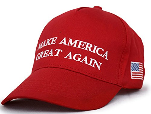 Besti Make America Great Again Donald Trump Slogan with USA Flag Cap Adjustable Baseball Hat Red -