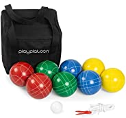 Play Platoon Bocce Ball Set with 8 Premium Resin Bocce Balls, Pallino, Carry Bag & Measuring