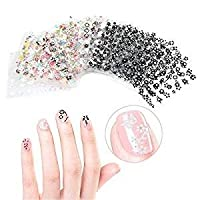 FOK Set Of 10 Pc 3D Design Self Adhesive Tip Nail Art Stickers Decals Stamping DIY Nail Decoration Tool Accessory- Random Designs & Color