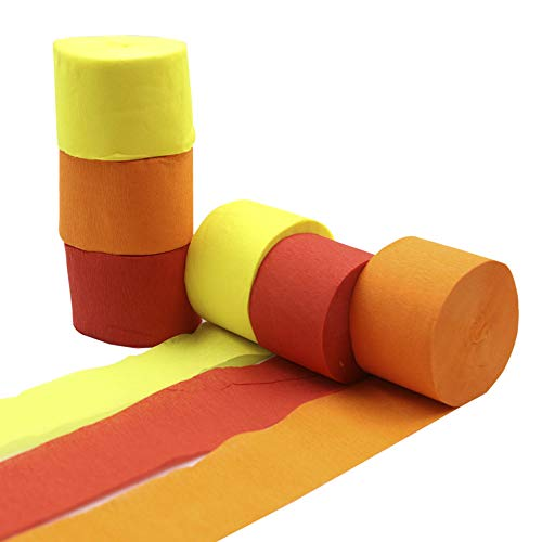 Crepe Paper Streamer Rolls Hanging Party Decoration Total 490-Feet, 6 Rolls, Theme Party Streamer for Wedding Bridal Baby Shower Birthday DIY Art Project Supplies, Yellow Orange Red, by BllalaLab ()