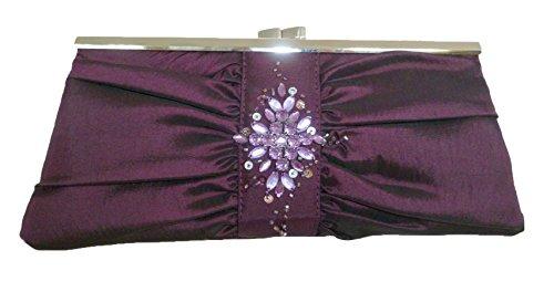 Handbag Bridesmaid Plum Evening Gem Wedding Taffeta Purple ~ Diamonte ~ PpgqfwT7P