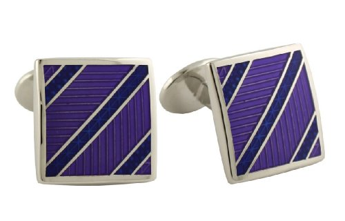 David Donahue Sterling Silver Diagonal Stripes Cufflinks - Blue / Purple (Sterling Silver Two Tone Cufflinks)