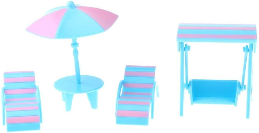 1/12 Dollhouse Miniature Beach Accessories Lounge and Swing Set Fairy Garden Kits