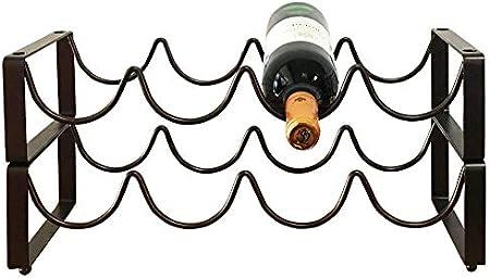 YunNasi Botellero Metálico Apilable de Mesa para 4 Botellas Estante Soporte para Botellas de Vino No Requiere Ensamblaje (juego de 2, marrón)