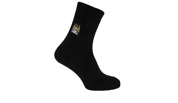 Manchester City FC - Calcetines térmicos oficiales Modelo Crest Fútbol (1 par) (40-45 EU/Negro): Amazon.es: Ropa y accesorios
