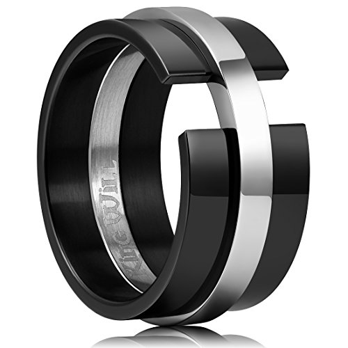King Will TIME 11mm Black and White Mens Stainless Steel Wedding Band Ring Matte Finished 12.5 by King Will