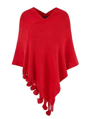 Ferand Women's Cozy Warm Poncho Sweater Elegant Shawl Wrap with Cute Pompoms, One Size, Red