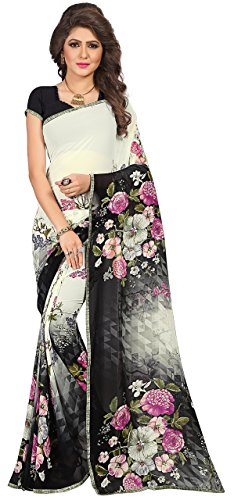 Women's Faux Georgette Floral Print Saree White/Black 6.30 m With Blouse Piece by Kalaa Varsha (Free Size, White)