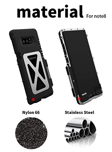 Samsung Galaxy Note 8 Étui Coque Housse Cover,Galaxy Note 8 Metal Case , Stainless Steel Metal[Shockproof Dropproof] Bumper Flip Back Cover for Samsung Galaxy Note 8