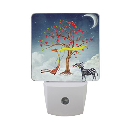 JOYPRINT Led Night Light Romantic Giraffe Zebra Flower Tree, Auto Senor Dusk to Dawn Night Light Plug in for Kids Baby Girls Boys Adults Room by JOYPRINT