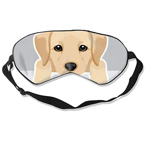 Cute Labrador Puppy Silk Sleep Eye Mask Flexible & Breathable Blindfold With Adjustable Strap