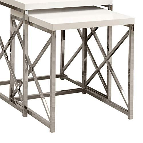 - Monarch Specialties I 3025, Nesting Table, Chrome Metal, Glossy White, Table Set, 2 pcs