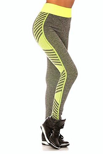 Legging + top assorti Ensemble de sport femme taille unique gris et jaune fluo
