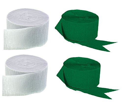 Green and White Crepe Paper Streamers (2 Rolls Each Color) MADE IN USA!