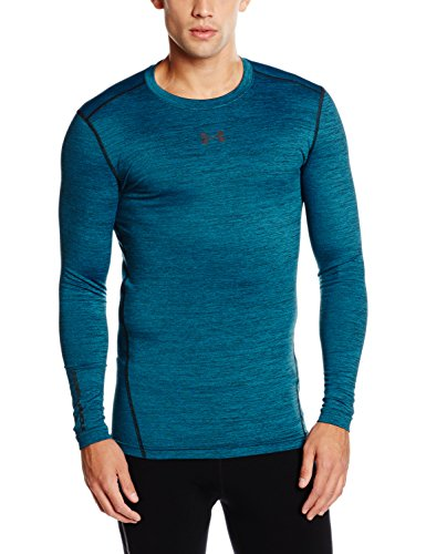Under Armour Men's ColdGear Armour Twist Crew, Peacock/Black, Small by Under Armour (Image #1)