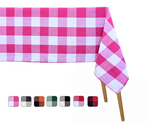 Cotton Tablecloth Rectangular - Pink Plaid Check Tablecloth - 60 x 109 Inch - Cotton tablecloths for Rectangular Tables - Checked Tablecloth Cotton - Gingham Tablecloths - Organic Cotton Tablecloth ()
