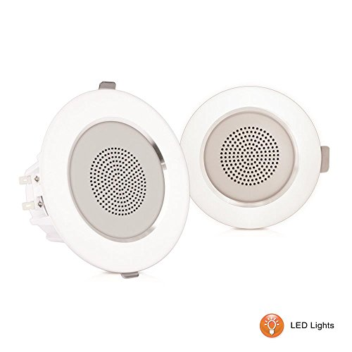 "Pyle 4"" Pair Flush Mount In-wall In-ceiling 2-Way Home Speaker System Built-in LED Lights Aluminum Housing Spring Clips Polypropylene Cone & Tweeter 2 Ch Amplifier 160 Watts (PDICLE4) by Pyle"