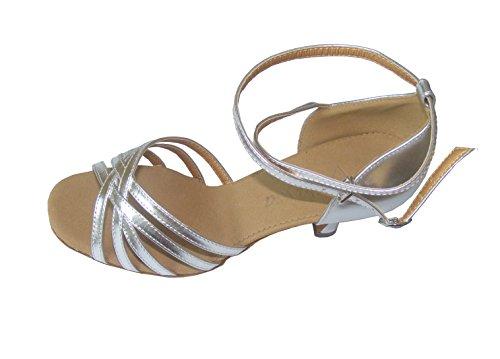 Gold Silver PU five belt of ladies ballroom Latin dance shoes Silver q8wjAZ1b9K