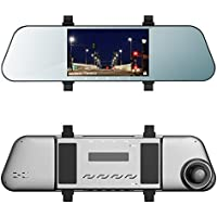 EHOOM Car Rear View Mirror Cam A8, Touch Screen, 5 LCD, 1920x1080 HD, 6-Lane 170° Wide-Angle View Lens, G-Sensor, WDR, Loop Recording, Al-alloyed Case, Super Night Vision in Total Darkness Conditions