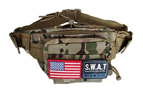 AMESEN Waterproof Military Fanny Pack Tactical Waist Bag Shoulder Bag Pack Water-Resistant Hip Belt Bag Pouch Hiking Climbing Fishing Outdoor (Camouflage)