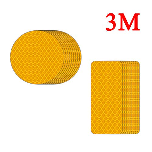 (3M Cycling Decals Safety Reflective Sticker Warning for Bicycle 20Pcs- Rectangular/Circle (Fluorescent Yellow))