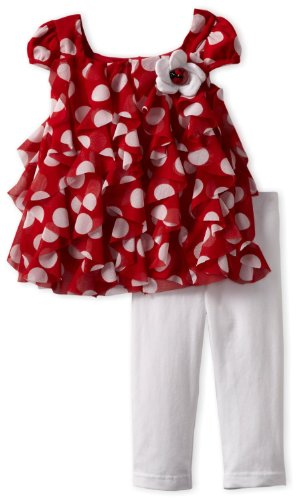 Rare Editions Red and White Ruffle Ladybug Capri Set 9 months