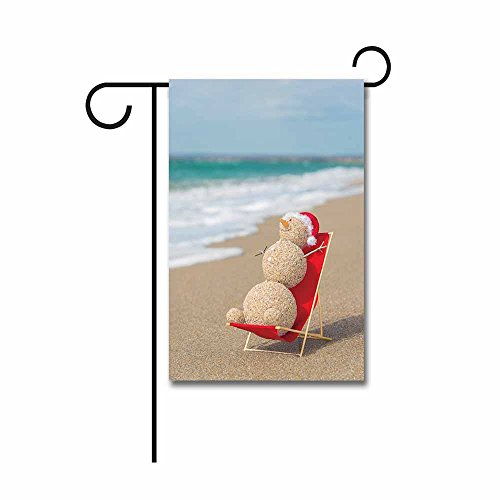 KafePross Banedy Snowman is Sunbathing on The Beach Summer Garden Flag 12.5