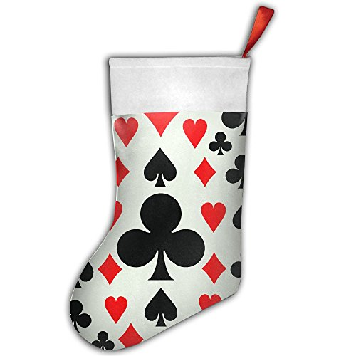 KSSChr Poker Pattern Card Suits Christmas Stocking Home Party Decorate