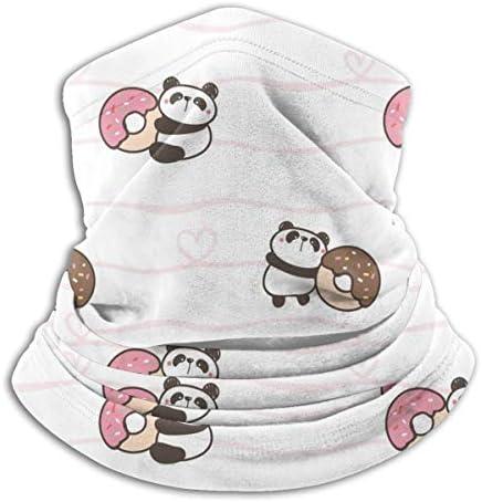 Cute Cartoon Panda And Donut ネックカバー UVカット バンダナ ゴルフウエア フェイスガード 多機能 日よけ サイクリングカバー