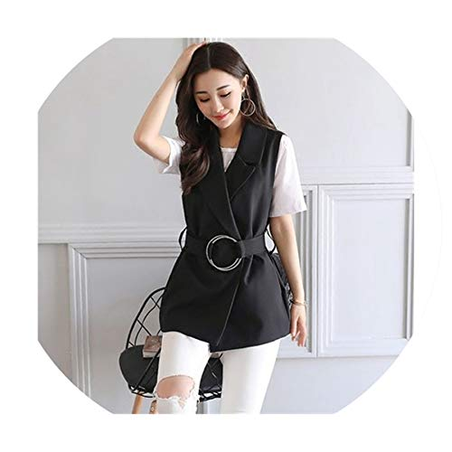 Puissant fishing-vests Women Sleeveless Blazer Vest Spring Sashes Vest Female Outwear Elegant Blazer Waistcoat,Black,M (Patagonia Womens Classic Retro X Fleece Jacket)