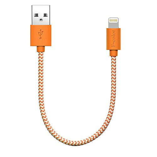(F-color iPhone 6 Charger, iPhone 6S Charger, 8 Inch Short Apple Certified Nylon Braided Cable Cord Compatible with iPhone 8 7 6S 6 Plus 5S 5, iPhone SE, iPad Air 2 Mini 4 3 iPad Pro Orange)