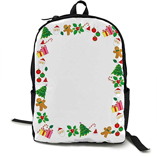 (Kids Christmas Unisex classic backpack Colorful Border with Different Clip Arts Holiday Festivity Santa Trees Balls Suitable for 16-inch laptops 16.5 x 12.5 x 5.5 Inch Multicolor)