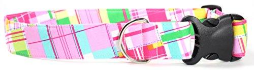 (Ruff Roxy Lily Pad Plaid, Pink Summer Shirt Pattern Designer Dog Collar, Adjustable Handmade Fabric Collars (XL))