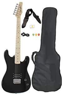 davison guitars 6 string black full size electric guitar with case strap pics and. Black Bedroom Furniture Sets. Home Design Ideas