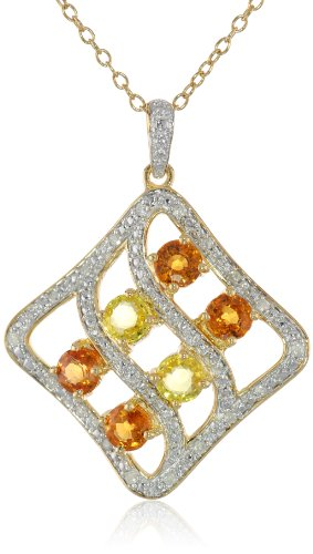Sterling Silver Orange and Yellow Sapphire with Diamond-Accent Pendant Necklace (0.1 Cttw, G-H Color, I3 Clarity), 18""