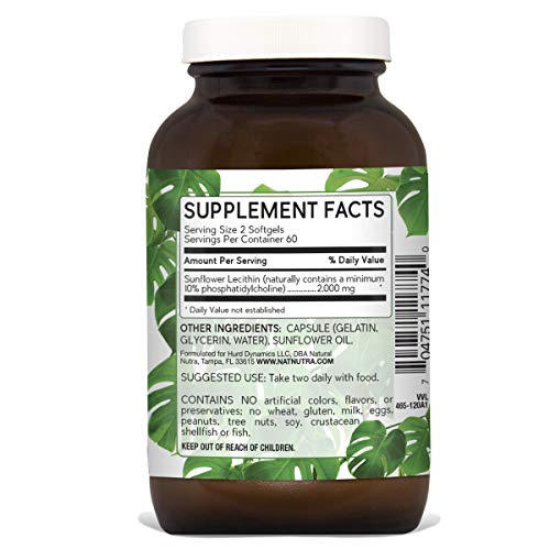 Natural Nutra Sunflower Lecithin 2000 mg, Phosphatidyl Choline, Non-GMO, Soy Free, Gluten Free, Premium Quality, Recyclable Glass Bottles, 120 Softgels by Natural Nutraceuticals (Image #1)