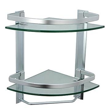 Onkuey Bathroom Corner Glass Shelf with Rail and Towel Bar, 8 MM ...